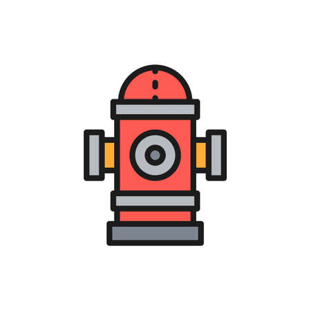 Vector fire hydrant flat color line icon.