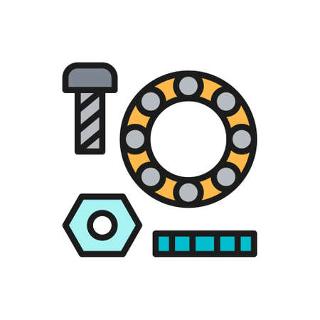 Metal parts, washers with bolts and bearings flat color line icon.