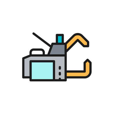 Spot welding machine flat color line icon. Illusztráció