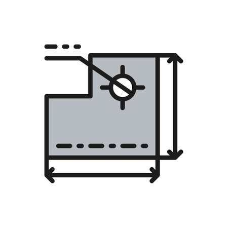 Drawing of technical device, development of a industrial machine color line icon
