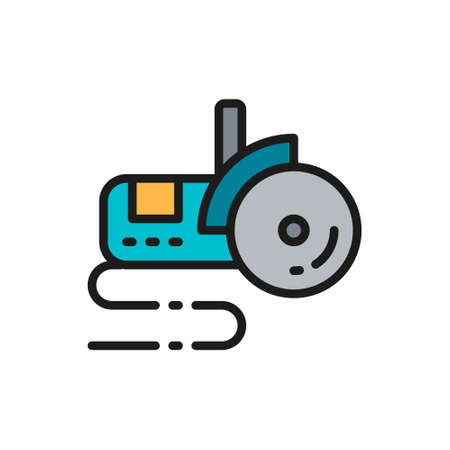 Vector bulgarian saw, angle grinder flat color line icon.