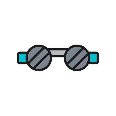Welder safety glasses, eye protection flat color line icon.