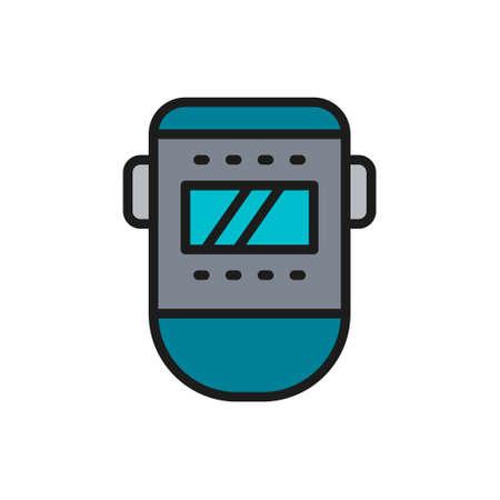 Vector welder mask, face protection flat color line icon. Çizim