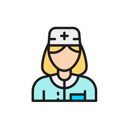 Nurse, woman medical worker, doctor flat color line icon.