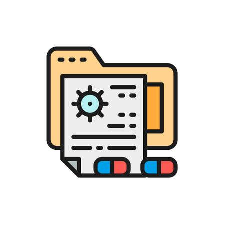 Patient files, medical prescription folder flat color line icon.