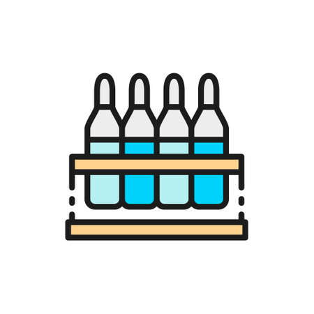 Ampoules with medication, vaccine flat color line icon.