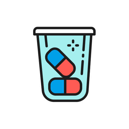 Pills container, medications, vitamins flat color line icon.