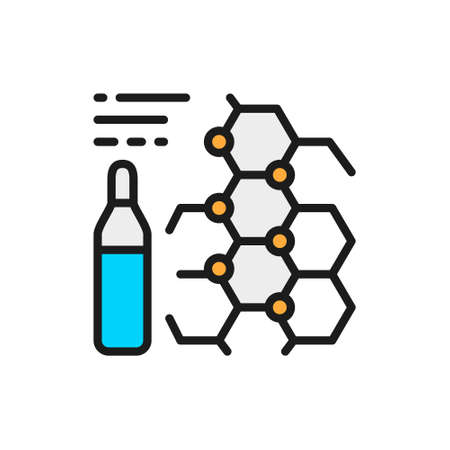 Medicine formula, ampoules, vaccine flat color line icon.