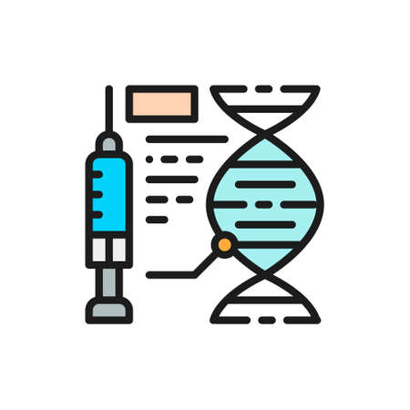 Vaccine formula, injection of medicine, dna flat color line icon. Çizim