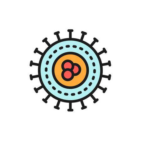 Bacteria, virus, microbes, unicellular flat color line icon. Çizim