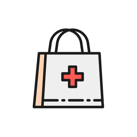 First aid kit, doctor bag, medical briefcase flat color line icon. Çizim