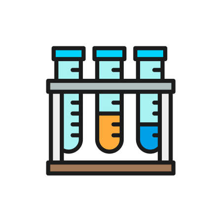 Medical test tubes, analyzes flat color line icon.