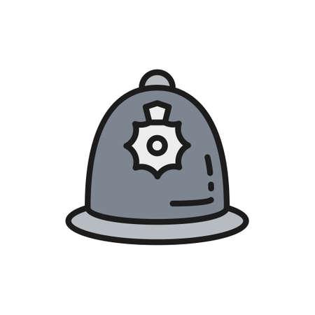 British police helmet, police cap flat color line icon. Çizim