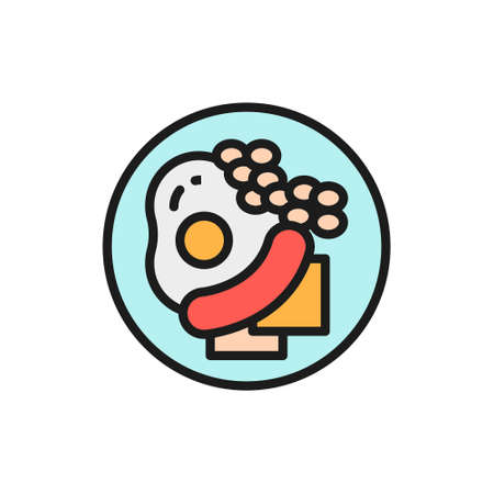 Traditional english breakfast, fried eggs with sausages flat color line icon. Çizim
