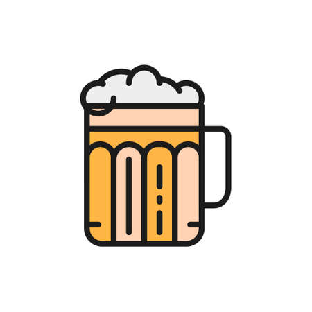Pint of beer, alcohol, glass with drink flat color line icon.