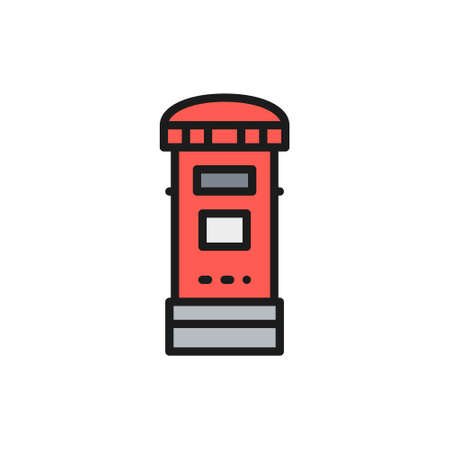 Vector traditional London postbox, post, mailbox flat color line icon. Symbol and sign illustration design. Isolated on white background Çizim
