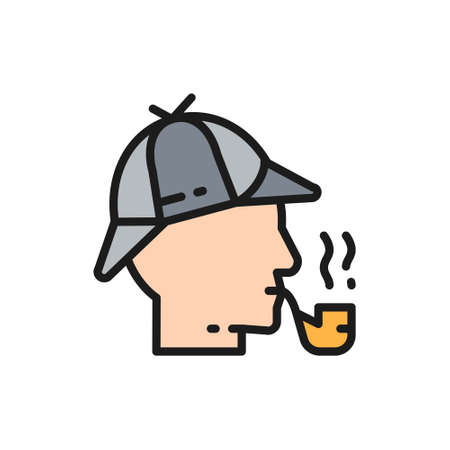 Detective, smoking pipe flat color line icon.
