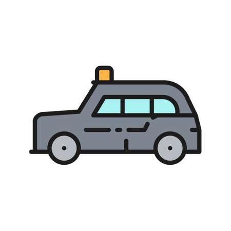 London cab, traditional public transport, taxi flat color line icon. Çizim