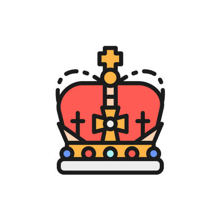 Crown, monarchy, royal power flat color line icon.
