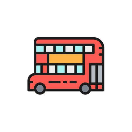 London double-decker bus, traditional public transport flat color line icon. Çizim