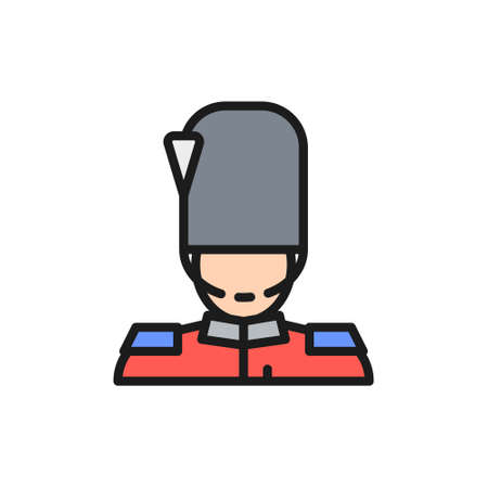England royal guard, guardsman, soldier flat color line icon.