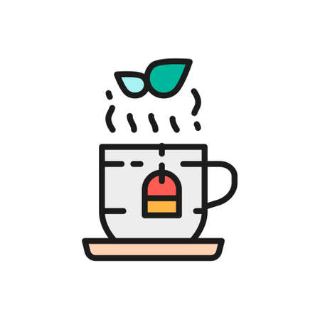 Cup of english herbal tea flat color line icon. Çizim