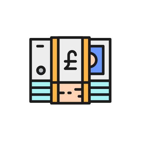 Stack of English Pound, GBP, British currency, money flat color line icon.