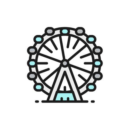 Ferris wheel,  flat color line icon.