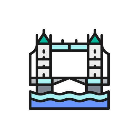 Tower Bridge, London city landscape flat color line icon.