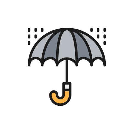 Umbrella with rain drops, bad weather flat color line icon. Çizim