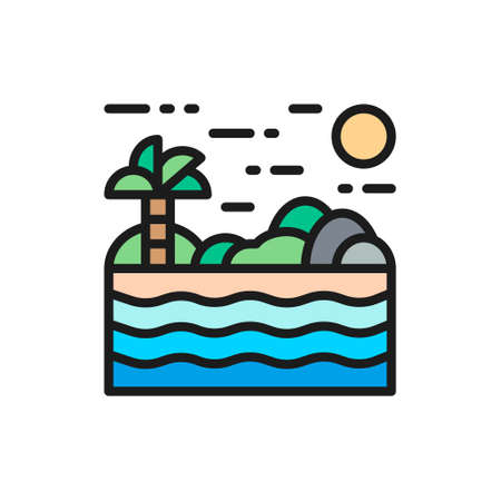 Beach with palm, tropic island, Thailand shore flat color line icon.