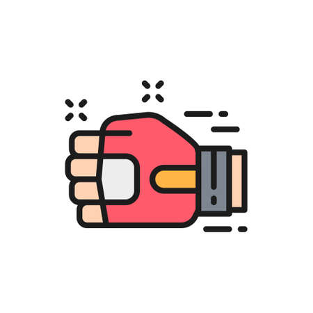 Vector thai martial art, hand in fight glove, muay thai flat color line icon. Symbol and sign illustration design. Isolated on white background