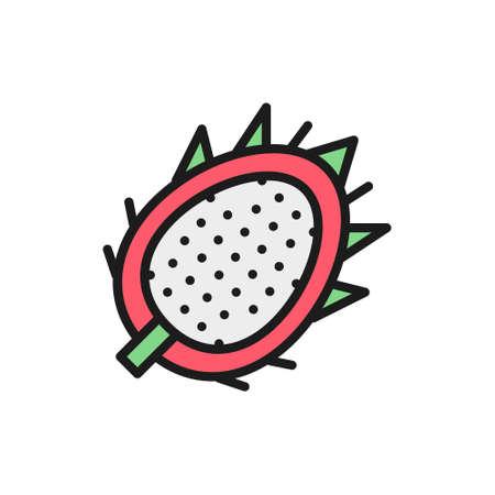 Vector tropical dragon fruit, pitahaya, pitaya flat color line icon. Symbol and sign illustration design. Isolated on white background Çizim