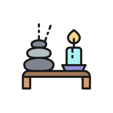 Spa, Thai hot stone with candle flat color line icon.