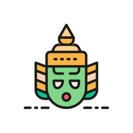 Vector Thailand traditional Khon theater mask, Ravana head flat color line icon. Symbol and sign illustration design. Isolated on white background Çizim