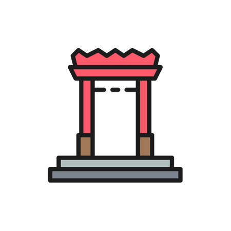 China gate in Chinatown, Bangkok, Thailand flat color line icon.