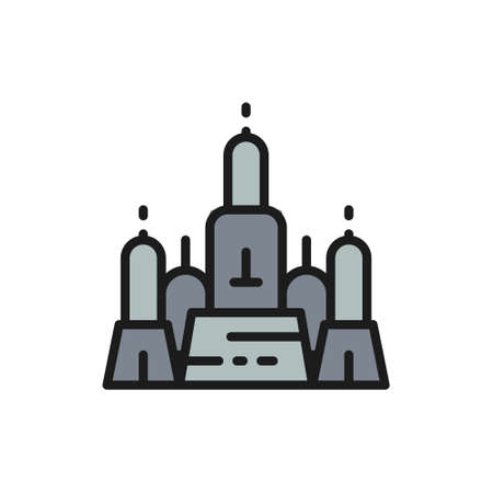 Towers Wat Arun, Temple of Dawn, Ayutthaya city, Bangkok flat color line icon. Иллюстрация