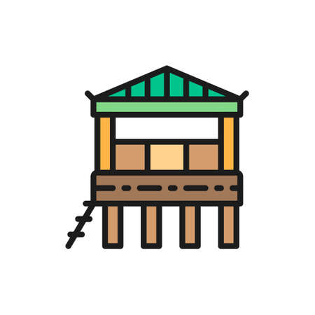 Traditional beach house on water, bungalow flat color line icon.