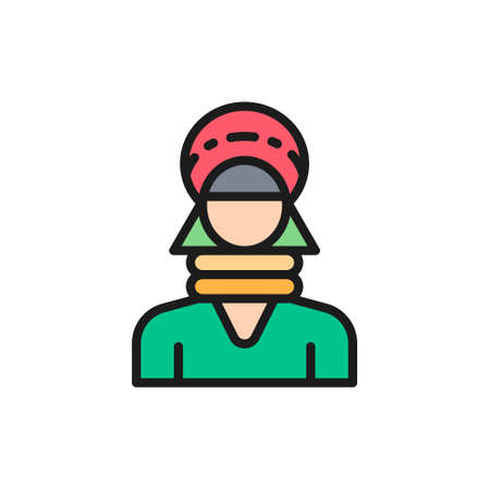 Hill tribe woman in Thailand, hmong northern tribe flat color line icon.