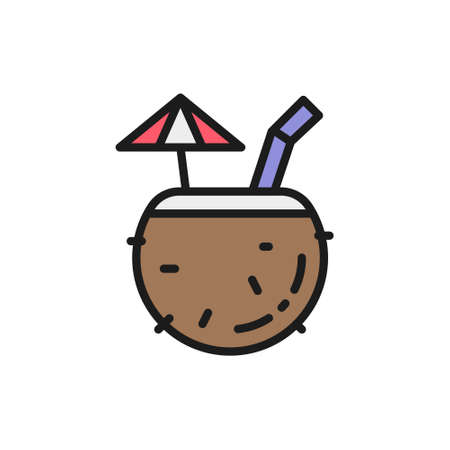 Tropical cocktail in coconut, exotic alcohol drink flat color line icon. Çizim