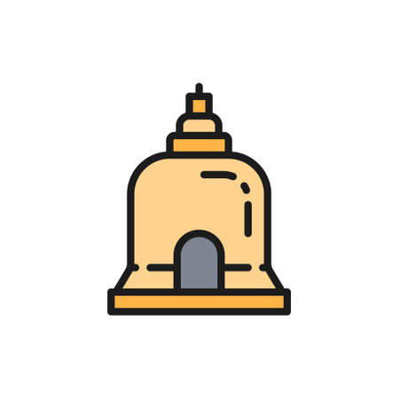 Traditional Monastery in Pattaya, Thailand flat color line icon.