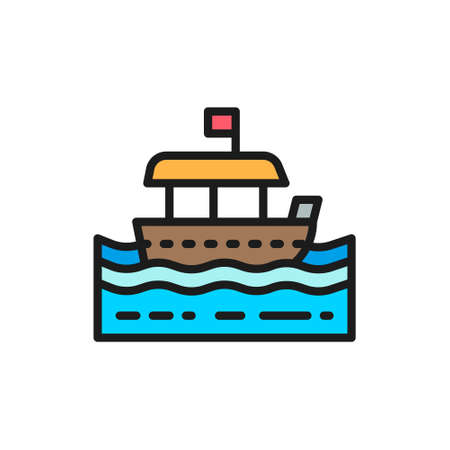 Vector traditional thai tourist boat flat color line icon. Symbol and sign illustration design. Isolated on white background