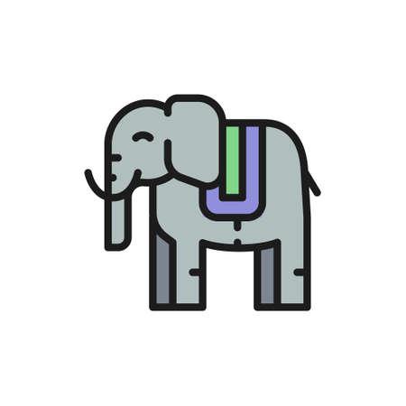 Vector thai sacred elephant, animal flat color line icon. Symbol and sign illustration design. Isolated on white background Çizim