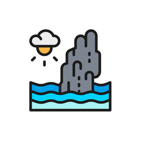Koh Tapu Rock, Thailand flat color line icon.