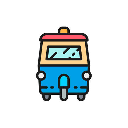 Vector tuk tuk car, traditional public transport in Thailand flat color line icon. Symbol and sign illustration design. Isolated on white background