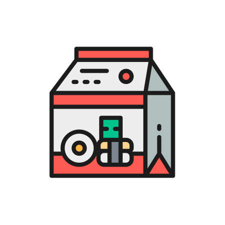 Packing for sweets and donuts, takeaway flat color line icon.