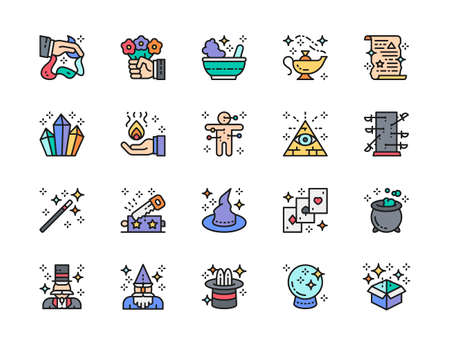 Set of Magic Show Flat Color Line Icons. Illusionist, Wizard, Circus and more.