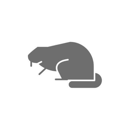 Beaver, water rat grey icon. Isolated on white background