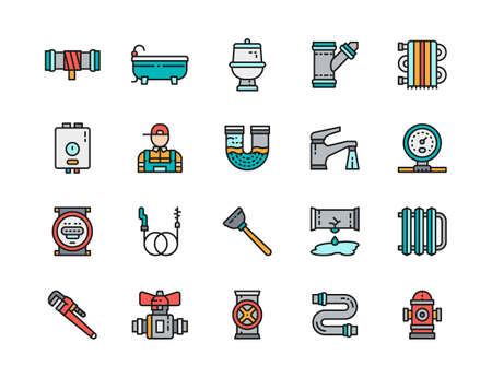 Set of Plumbing Service Color Line Icons. Bathtub, Toilet, Plumber and more. Vektorové ilustrace