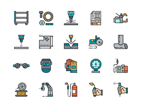 Set of Welding Flat Color Line Icons. Spot Machine, Bolts, Blowtorch and more. Vector Illustration